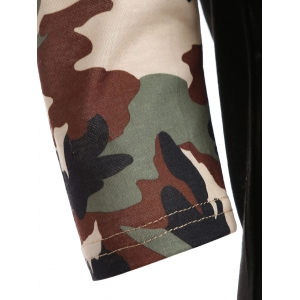 Camo Embellished Raglan Sleeve T-Shirt - BLACK XL