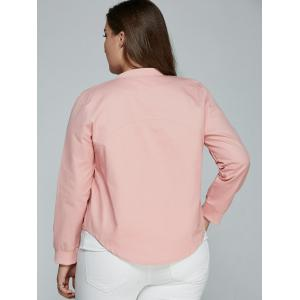 Plus Size Relaxed Thin Jacket - PINK 5XL