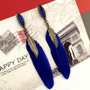 Feather Leaf Fake Gem Earrings - BLUE