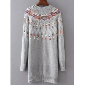 Long Floral Pullover Knit Sweater - GRAY ONE SIZE