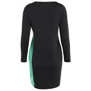 Sheath Plus Size Long Sleeve Color Block Business Dress - GREEN 6XL