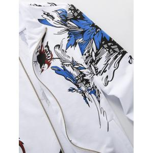 Plus Size Hooded Birds and Florals Print Zip-Up Hoodie - WHITE 3XL