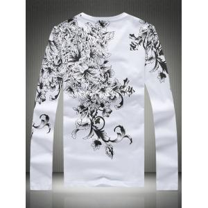 Plus Size Bird and Florals Print V-Neck Long Sleeve T-Shirt -