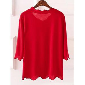 Plus Size 3/4 Sleeves Wave Cut Knitwear - RED 5XL