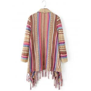 Striped Color Block Fringed Cardigan -