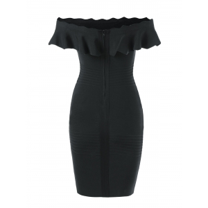 Off The Shoulder Ruffle Bodycon Dress -