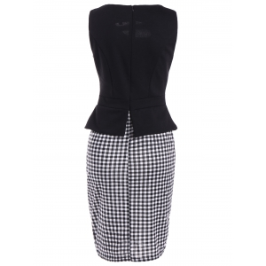 Sleeveless Cut Out Bodycon Dress - CHECKED 5XL