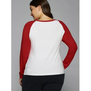 Sequined Heart Raglan Sleeve T-Shirt - RED/WHITE XL