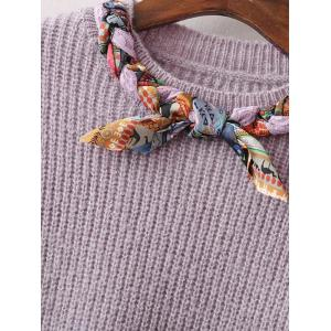 Bowknot Design Pullover Knit Sweater - LIGHT PURPLE ONE SIZE