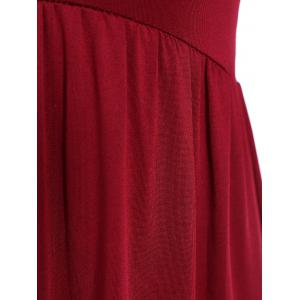 Ruched Empire Waist Long Formal Dress - WINE RED XL