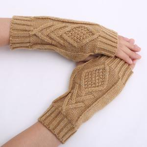 1 Pair Warm Rhombus Line Crochet Fingerless Gloves - CAMEL