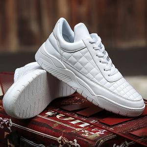 PU Leather Plaid Pattern Lace Up Casual Shoes -