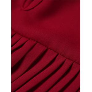High Low Pleated Blouse - WINE RED 5XL