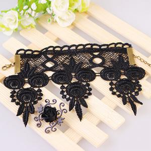 Lace Embroidery Floral Rose with Ring Bracelet - BLACK
