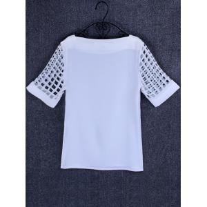 Openwork Candy Color T Shirt - WHITE 2XL