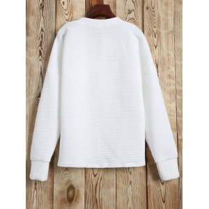 Lace Up Sweatshirt - WHITE M
