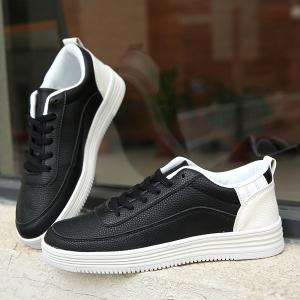 PU Leather Breathable Lace Up Casual Shoes - WHITE/BLACK 43