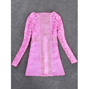 Lace Crochet Blouse - PINK M