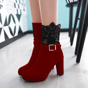 Embroidery Chunky Heel Zipper Short Boots - RED 41