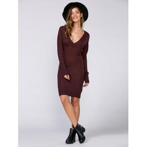 Long Sleeve Textured Fuzzy Knit Dress - WINE RED L
