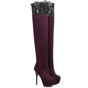 Lace Spliced Flock Stiletto Heel Thigh Boots - PURPLISH RED 39