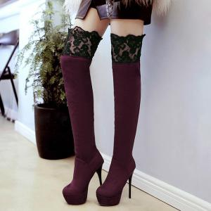 Lace Spliced Flock Stiletto Heel Thigh Boots -