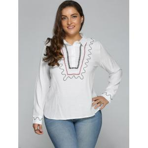Plus Size Embroidered Trim Shirt -