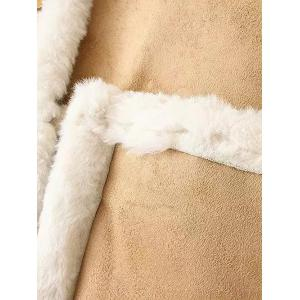 Fleece Trim Spliced Chamois Coat -