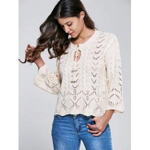 Stand Neck Long Sleeve Hollow Out Sweater -