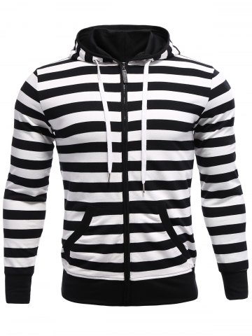 Discount Striped Zip Up Black and White Hoodie men