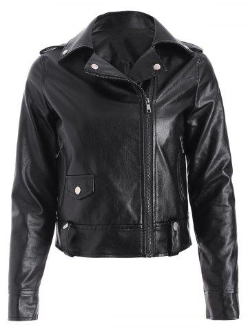 Discount PU Epaulet Biker Short Jacket BLACK L