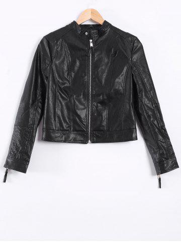 Online Topstitching Faux Leather Short Biker Jacket BLACK XS