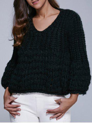 Outfit Faux Mohair Puff Sleeve Short Sweater
