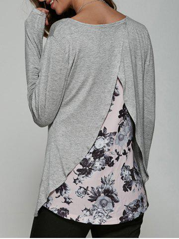 Buy Back Surplice Floral Print Casual T-Shirt GRAY XL