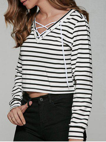 Outfit Lace Up Striped Print T-Shirt WHITE/BLACK XL