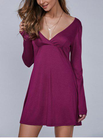 Unique Long Sleeves Surplice Dress WINE RED L