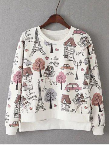 Outfits Printed High Low Sweatshirt