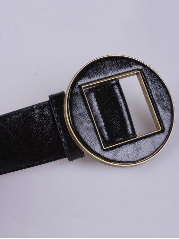 Discount Coat Wear Hollow Square Round Buckle Wide Belt - BLACK  Mobile