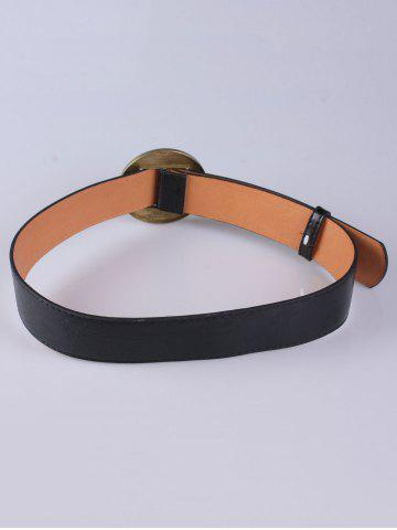 Sale Coat Wear Hollow Square Round Buckle Wide Belt - BLACK  Mobile