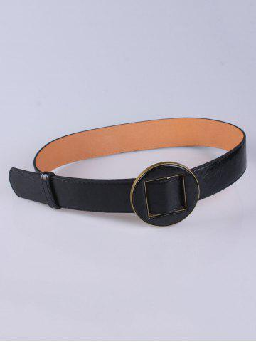 Cheap Coat Wear Hollow Square Round Buckle Wide Belt BLACK