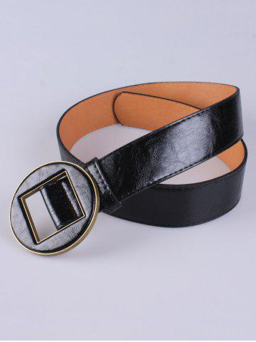 Chic Coat Wear Hollow Square Round Buckle Wide Belt - BLACK  Mobile