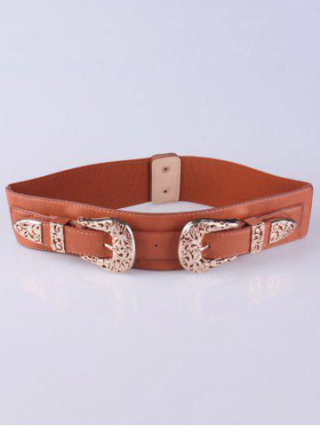 Chic Wide Stretch Double Buckle Belt