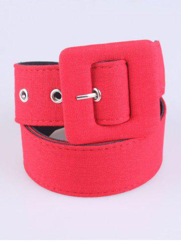 Chic Coat Wear Pin Buckle Wide Cloth Belt - RED  Mobile