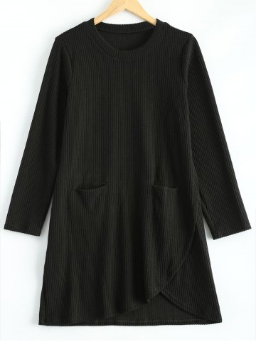 Hot Plus Size Irregular Sweater Dress with Front Pockets BLACK 3XL