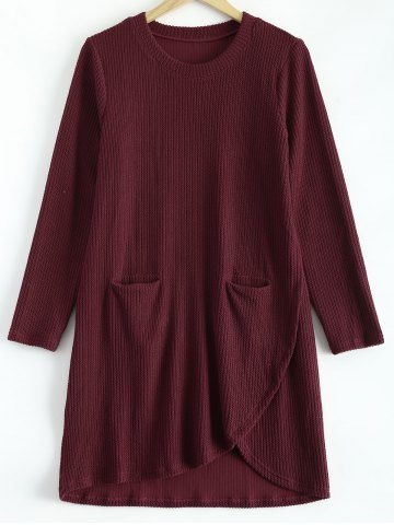 Plus Size Irregular Sweater Dress with Front Pockets - Wine Red - Xl