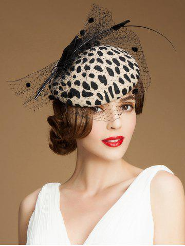 Fancy Sororal Party Polka Dot Veil Milk Cowskin Pillbox Hat