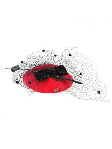 Store Sororal Party Bowknot Polka Dot Veil Fascinator Hat RED