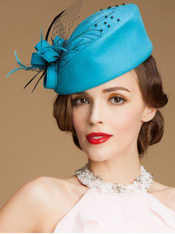 Outfit Sororal Party Fancy Feather Veil Beaded Pillbox Hat AZURE