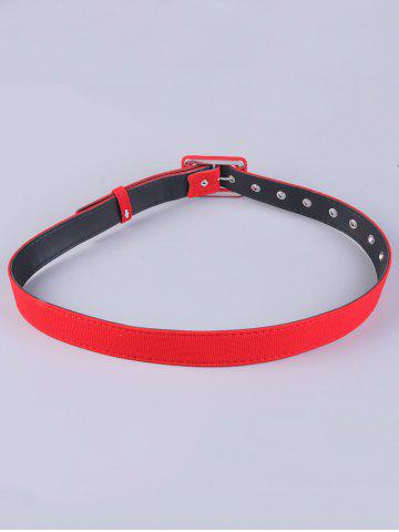 Latest Coat Wear Rectangle Pin Buckle Wide Cloth Belt - RED  Mobile