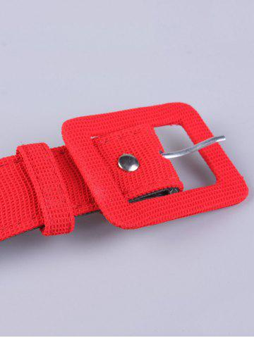 Unique Coat Wear Rectangle Pin Buckle Wide Cloth Belt - RED  Mobile
